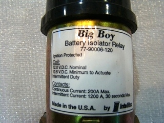 USED INTELLITEC BIG BOY BATTERY ISOLATOR RELAY P/N: 77-90006-120