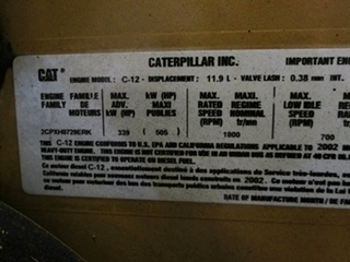 USED CATERPILLAR ENGINE |  2002 CAT C12 505HP DIESEL ENGINE FOR SALE