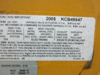 USED CATERPILLAR DIESEL MOTOR | CAT C13 DIESEL MOTOR 2005 12.5L 525HP FOR SALE