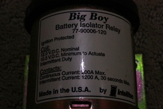 USED INTELLITEC BIG BOY BATTERY ISOLATOR RELAY 77-90006-120 FOR SALE