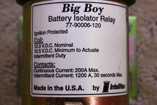 USED BATTERY ISOLATOR RELAY P/N 77-90006-120 FOR SALE