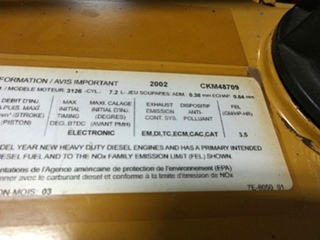CATERPILLAR DIESEL ENGINE   USED CATERPILLAR 3126 7.2L 330HP YEAR 2002 FOR SALE