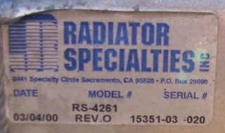 USED 2000 HOLIDAY RAMBLER AMBASSADOR RADIATOR FOR SALE