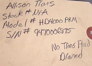 ALLISON TRANSMISSION FOR SALE | USED 2009 ALLISON HD4000PRM TRANSMISSION FOR SALE