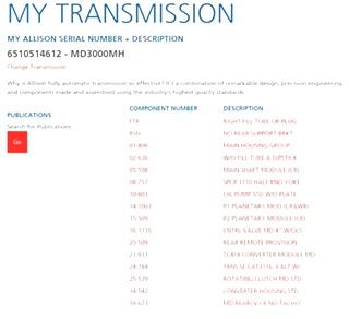 USED ALLISON TRANSMISSION MODEL MD3000MH S/N 6510514612 FOR SALE